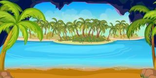 Tropikalna plaża i wyspa krajobraz dla gry, wektorowa ilustracja, 1024x512 Fotografia Stock