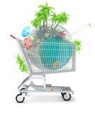Tropikalna planeta w wózek na zakupy Obrazy Stock