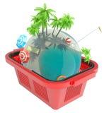 Tropikalna planeta w zakupy koszu Zdjęcie Stock