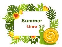 Tropikalna rama z palmą opuszcza, egzot kwitnie i uśmiechnięty zielony ślimaczek z żółtą skorupą ilustracji