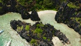 Tropikalna seawater laguna i pla?a, Filipiny, El Nido zbiory wideo