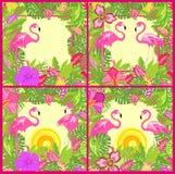 Tropikalna tło różnica z różowymi flamingami, tropikalnymi liśćmi, gorącym słońcem i egzotem, kwitnie dla mod etykietek royalty ilustracja
