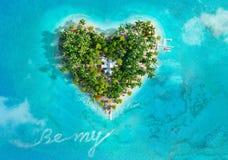 Tropikalna wyspa w formie serca ilustracja wektor
