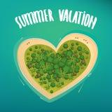 Tropikalna wyspa w formie serca royalty ilustracja