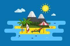 Tropikalna wyspa wakacje pocztówka royalty ilustracja