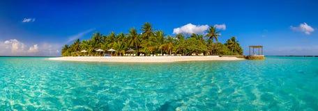 Tropikalna wyspa z białymi drzewkami palmowymi i piaskiem Zdjęcia Royalty Free