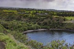 Tropikalna zatoka i pole golfowe przy Kapalua Maui Hawaje Zachodnim usa Zdjęcie Stock