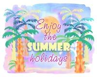 Tropikalna ziemia z palmami i słońce na abstrakcjonistycznej akwareli malujemy Fotografia Stock