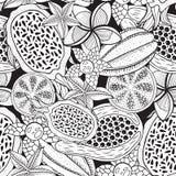 Tropikalne owoc - bezszwowy wzór dla kolorystyki książki Atrament ręka rysująca ilustracja abstrakcjonistycznego grafiki tła abst royalty ilustracja