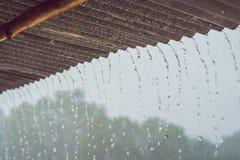 Tropikalne podeszczowe przerwy zestrzelają od dachu obrazy stock