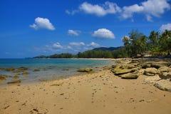 Tropikalne rośliny, plaża i drzewa, Phra Ae plaża, Ko Lanta, Tajlandia Fotografia Stock