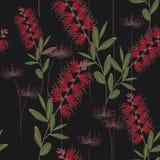 Tropikalne rośliny, rajów kwiaty i egzotów liści bezszwowy wzór na czarnym tle, ilustracji