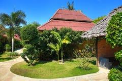 Tropikalne rośliny w ziemiach hotel, plaża i drzewa, Phra Ae plaża, Ko Lanta, Tajlandia Fotografia Stock