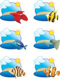tropikalne rybie ikony ilustracji
