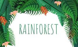 Tropikalnego lasu deszczowego pojęcia sztandar, kreskówka styl royalty ilustracja