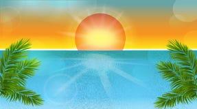 Tropikalnego plażowego zmierzchu wektorowy ilustracyjny tło Obrazy Stock