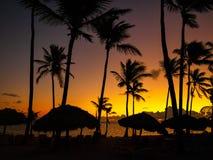 Tropikalnego słońca ustalona sylwetka na Carbbean wybrzeżu obraz stock
