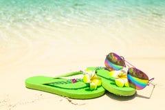 Tropikalnego urlopowego conceptâ€' zieleń okulary przeciwsłoneczni na a i klapy Fotografia Stock