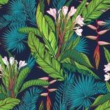 Tropikalnej dżungli bezszwowy wzór na zmroku - błękitny tło Fotografia Stock