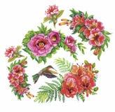 Tropikalnej kwiecistej akwareli bezszwowy wzór z colibris i kwiatami adobe korekcj wysokiego obrazu photoshop ilości obraz cyfrow royalty ilustracja