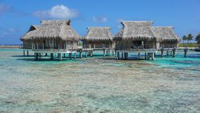 Tropikalni bungalowy z pokrywającym strzechą dachem nad morzem Obraz Royalty Free