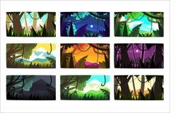 Tropikalni dżungla krajobrazy ustawiają w różnych różnych kolorach i czasach dzień ilustracja wektor