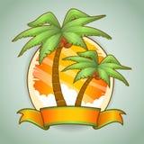 Tropikalni drzewka palmowe tasiemkowi Fotografia Stock