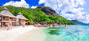 Tropikalni holydays w raju - Seychelles wyspa, Praslin islan zdjęcie stock