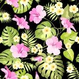 Tropikalni kwiaty i dżungli palmy ilustracji