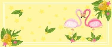 Tropikalni lato czasu horyzontalni sztandary, projekta element z palma liśćmi, kwiaty, ananasy i flamingi wektorowi, ilustracja wektor