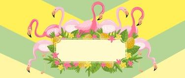 Tropikalni lato czasu horyzontalni sztandary, projekta element z palma liśćmi, kwiaty, ananasy i flamingi wektorowi, ilustracji