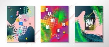 Tropikalni lato dzieciaków obozu przyjęcia plakaty ustawiający Fotografia Royalty Free