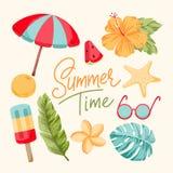 Tropikalni lato elementy Zdjęcia Royalty Free