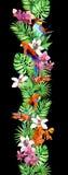 Tropikalni liście, storczykowi kwiaty, egzotyczni ptaki Wielostrzałowa egzot granicy rama Zdjęcie Royalty Free