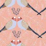 Tropikalni ptaki z popielatym i bielem rozgałęziają się na różowym tle s ilustracja wektor