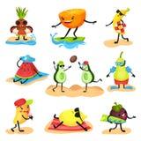 Tropikalni zhumanizowani owocowi charaktery wydaje czas na plaża secie, owoc relaksuje, pływający, sunbathing, bawić się royalty ilustracja