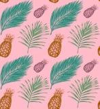 Tropikalny bezszwowy wzór w wektorze Egzotyczny palm owoc i liści tło Dżungli ulistnienia ilustracja Ręki nakreślenie ilustracji