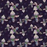 Tropikalny bezszwowy wzór z czarnymi orchidea kwiatami Zwrotnik kwiecista tapeta odizolowywająca na ciemnym tle egzot Obraz Stock
