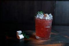 Tropikalny czerwony alkoholiczny koktajl z dodatkiem: świeży sok, owocowy syrop, mennica, lód, owoc plasterki na rocznika drewnia obrazy stock