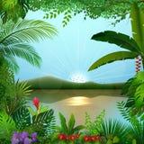 Tropikalny dżungla krajobraz z rzeką i górami ilustracja wektor