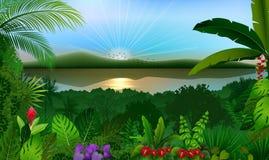 Tropikalny dżungla krajobraz z rzeką i górami royalty ilustracja
