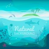 Tropikalny denny naturalny tło ilustracji