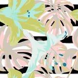 Tropikalny druk dżungli bezszwowy deseniowy Wektorowy zwrotnika lata motyw z Hawajskimi kwiatami Obrazy Stock