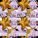 Tropikalny druk dżungli bezszwowy deseniowy Wektorowy zwrotnika lata motyw z Hawajskimi kwiatami zdjęcie royalty free
