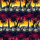 Tropikalny drzewko palmowe przy zmierzchem z poślubnikiem kwitnie bezszwowego patt royalty ilustracja