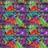 Tropikalny egzot opuszcza, storczykowi kwiaty, neonowy światło bezszwowy wzoru akwarela Obrazy Royalty Free