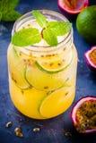 Tropikalny koktajl z pasyjną owoc, wapnem i mennicą, Obraz Stock