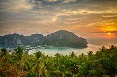 Tropikalny krajobraz. Phi wyspa, Tajlandia. Zdjęcia Stock
