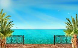 Tropikalny krajobraz z błękitnymi drzewkami palmowymi i morzem Obrazy Royalty Free