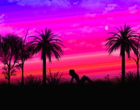Tropikalny krajobraz z cień dziewczyną Obraz Royalty Free